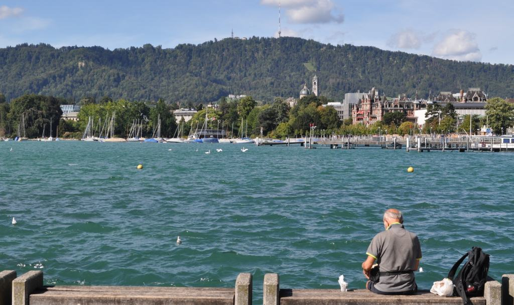 A man feeding ducks at Lake Zurich